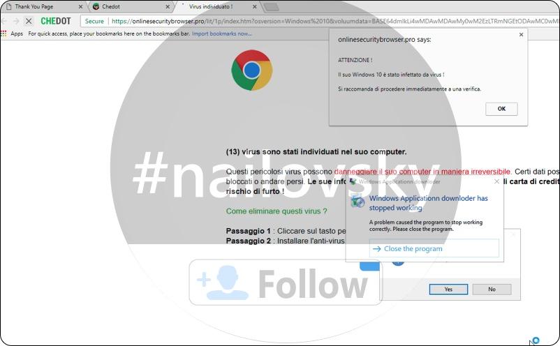 onlinesecuritybrowser.pro 'Virus gedetecteerd!' scam
