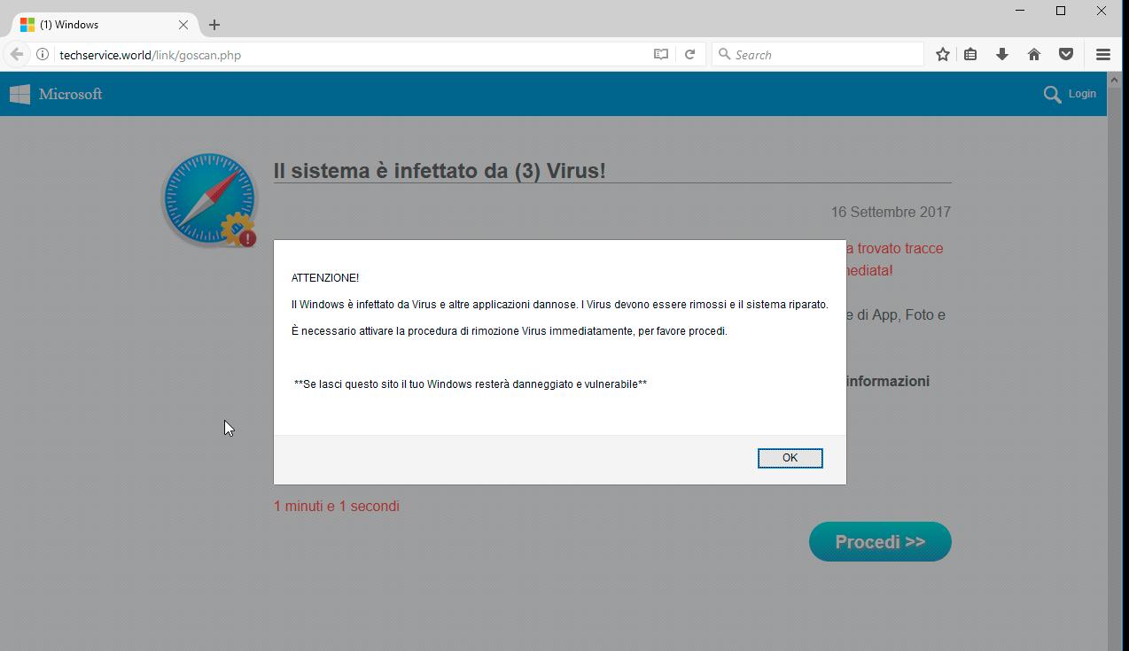 techservice.world (1) Scam - 'l sistema è infettato da (3) virus'