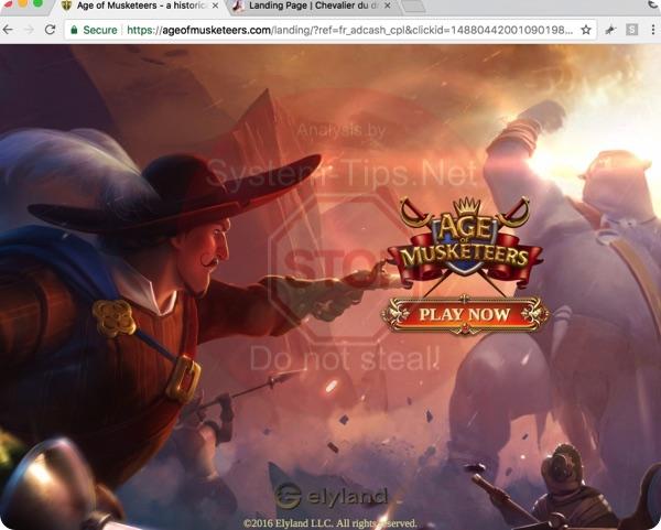 Ageofmuskeeters.com game alert