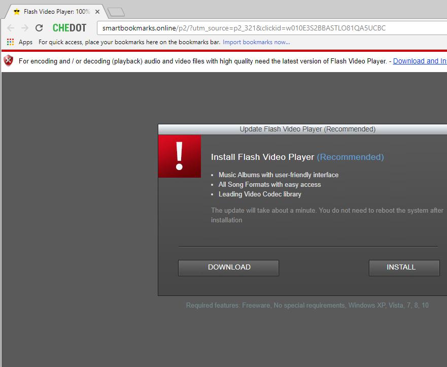 smartbookmarks.online fake Flash Video Player alert