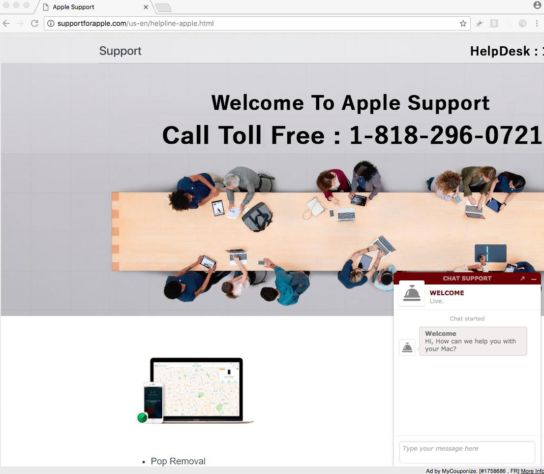 Supportforapple.com fake Apple Support 1-818-296-0721 scam