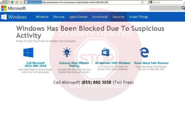 (855) 880 3058 computererror-fix6.s3.amazonaws.com scam