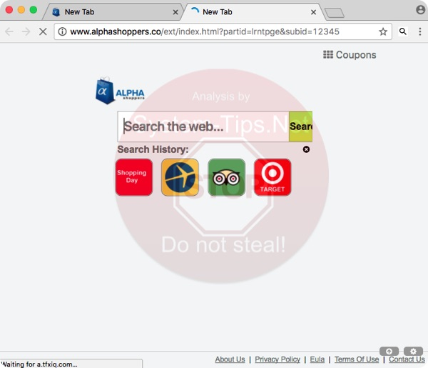 Alphashoppers.co New Tab in Google Chrome