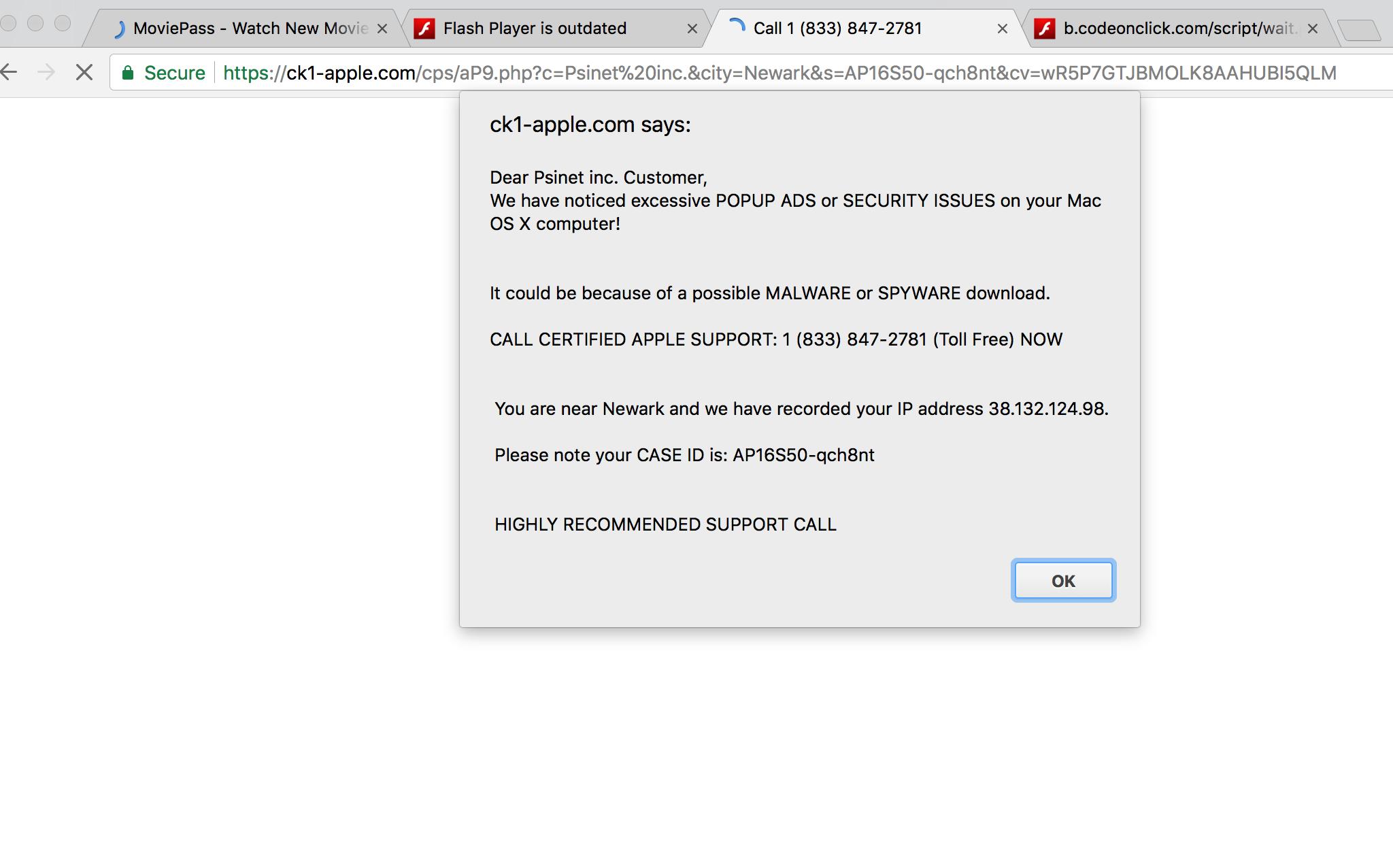 Ck1-apple.com Call 1 (833) 847-2781 scam