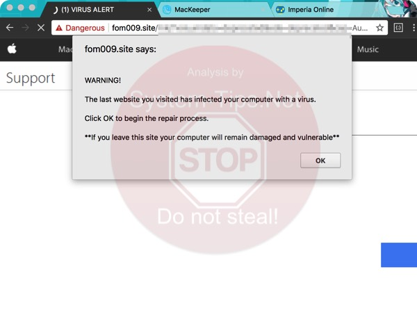 Fom009.site online scam on Mac