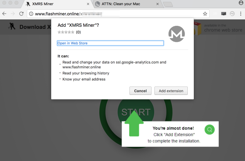 XMRS Miner extension in Google Chrome.