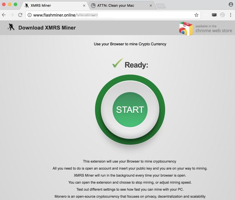 Flashminer.online pop-up