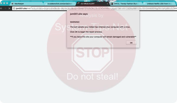 Jom001.site scam on Mac