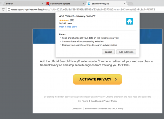SearchPrivacy extension in Google Chrome.