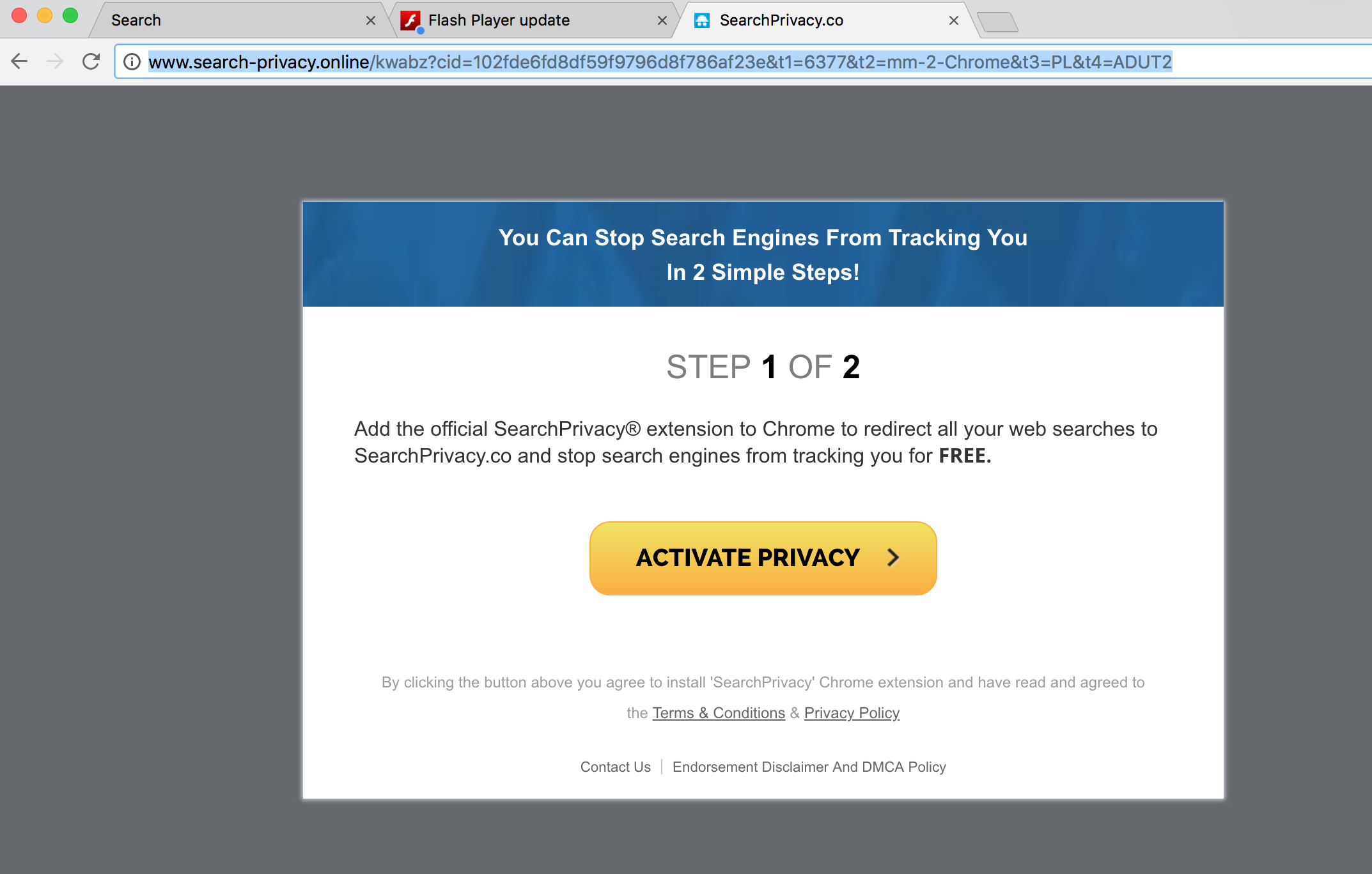 Search-privacy.online pop-up in Google Chrome.