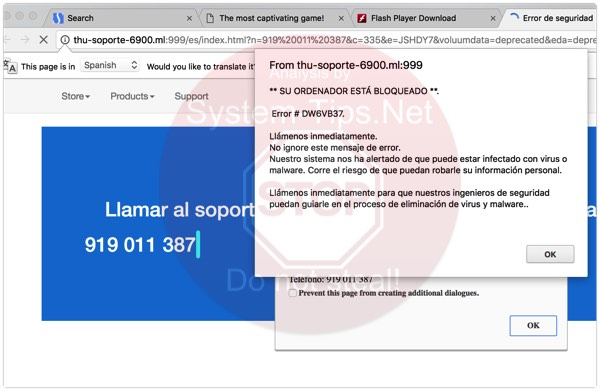 Thu-soporte-6900.ml 919 011 387 scam on screen
