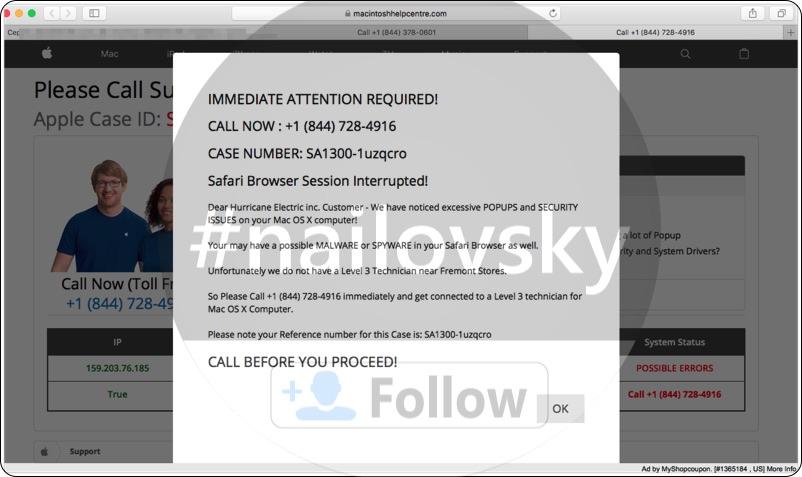 Macintoshhelpcentre.com +1 (844) 378-0601 scam
