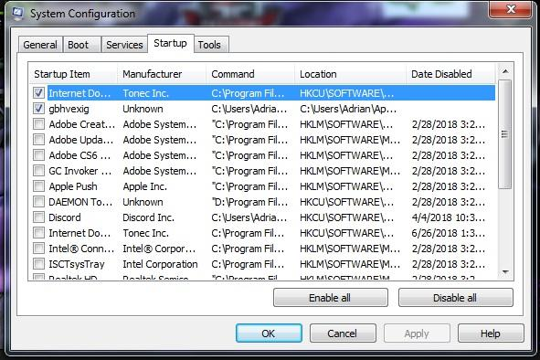 Gbhvexig.exe malware in Task Manager