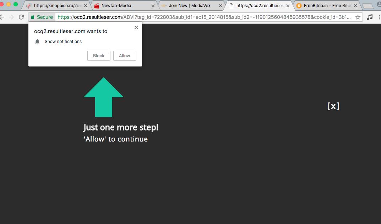 Resultieser.com alerts in browsers