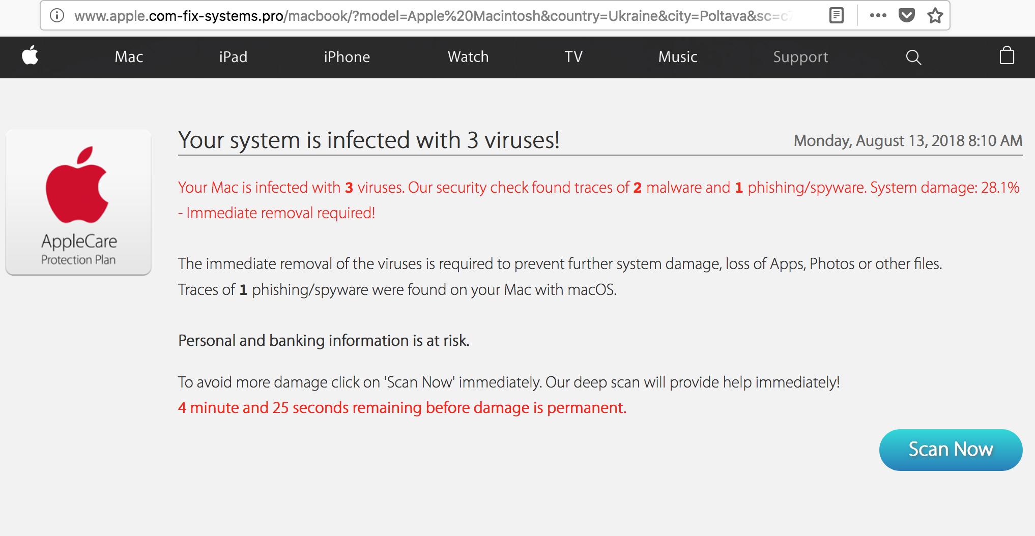 Apple.com-fix-systems.pro virus alert