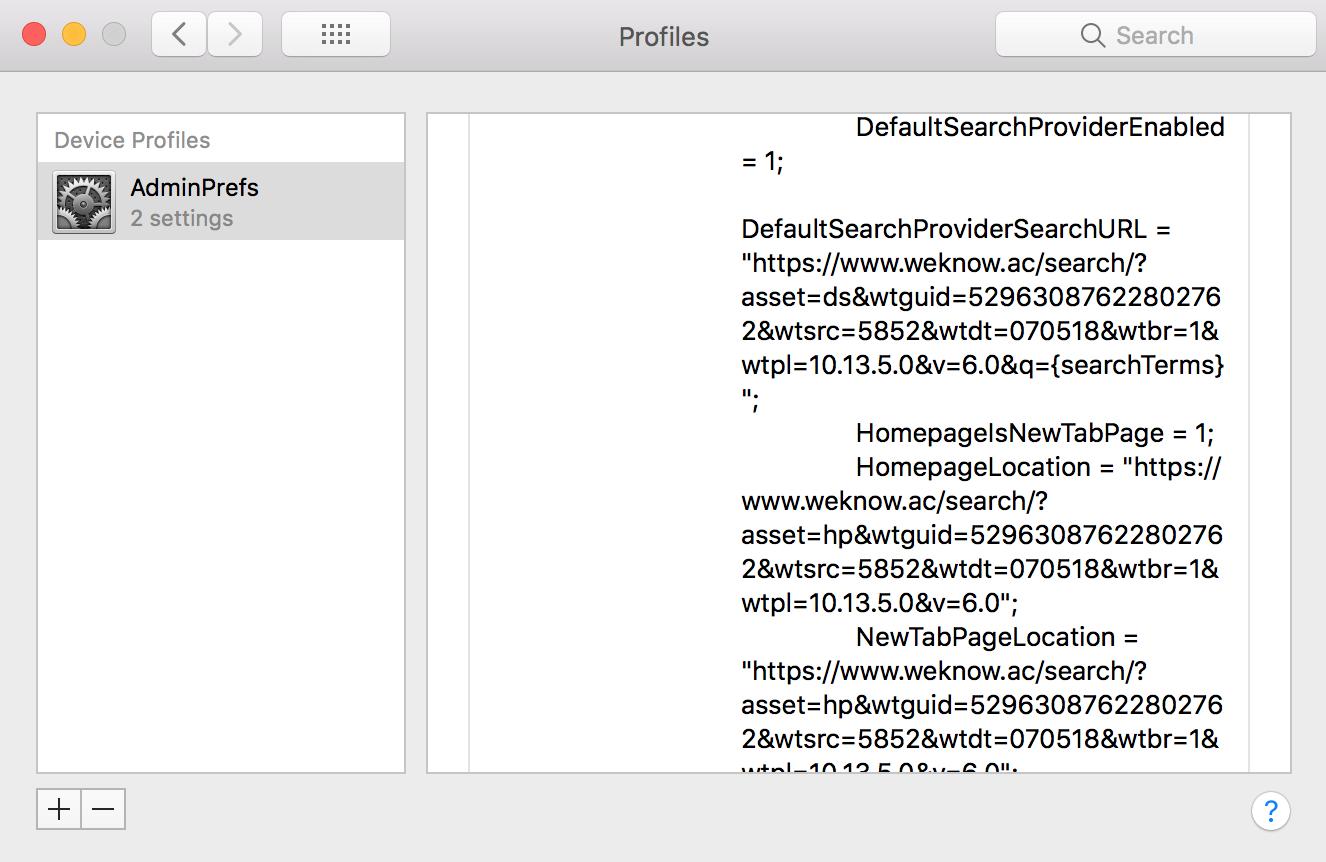 weknow.ac browser hijacker in Mac OS X profiles