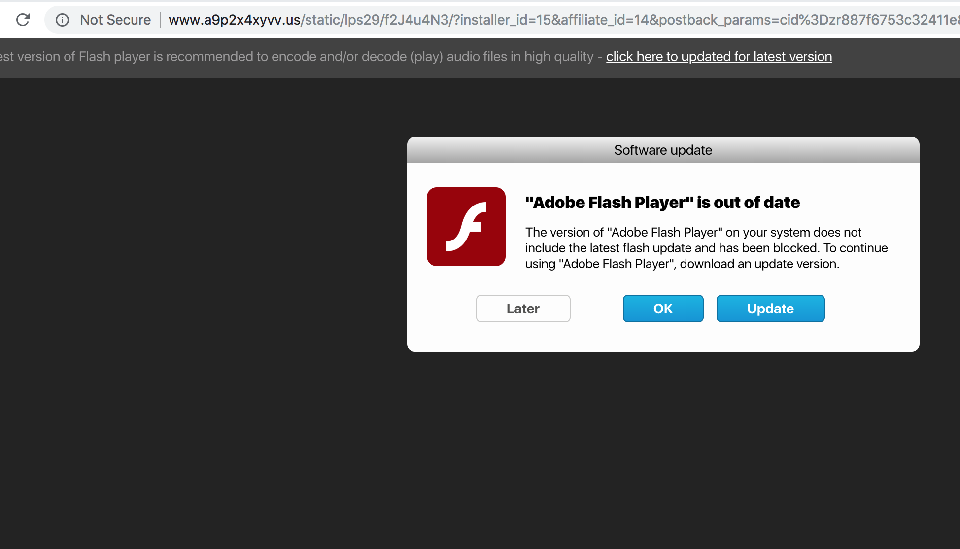 A9p2x4xyvv.us fake Adobe Flash Player update alert