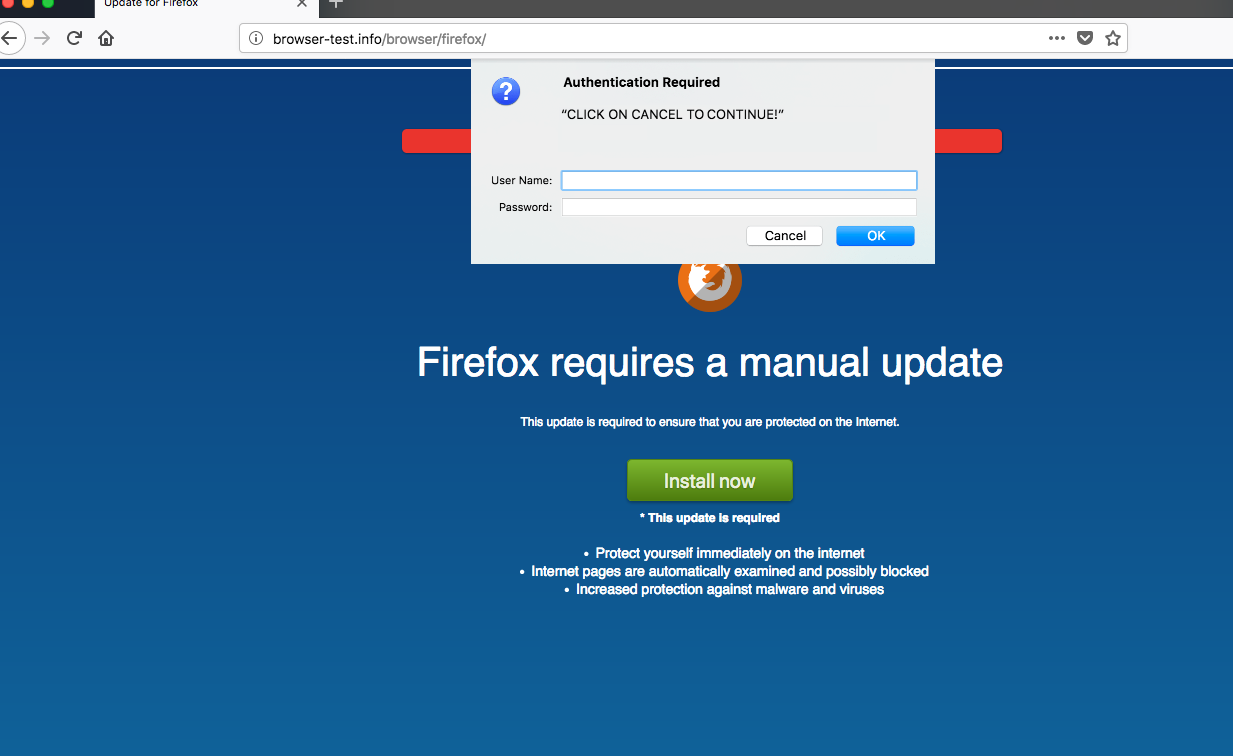 Browser-test.info scary alert