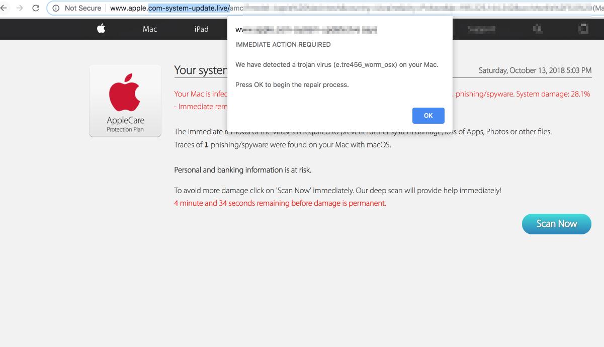 apple.com-system-update.live scam (Mac)