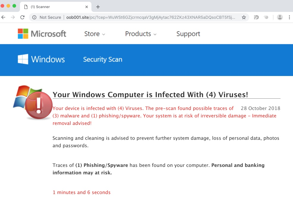Oob001.site scam attacking Windows browsers
