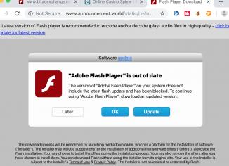 Announcement.world fake Adobe Flash Player alert