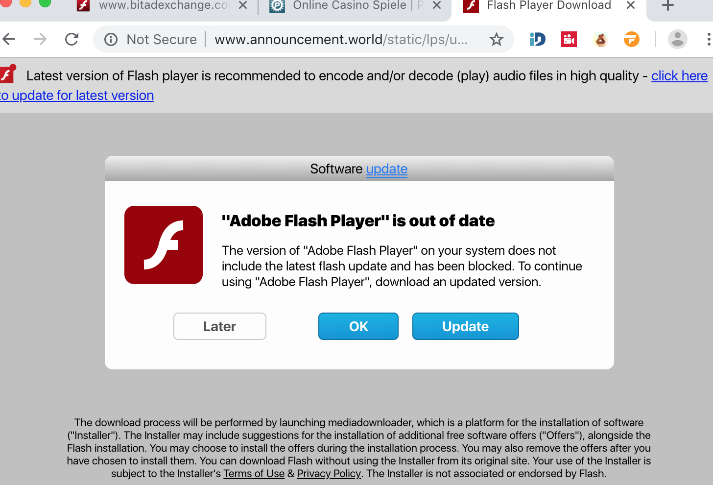 Announcement.world fake Adobe Flash Player alert