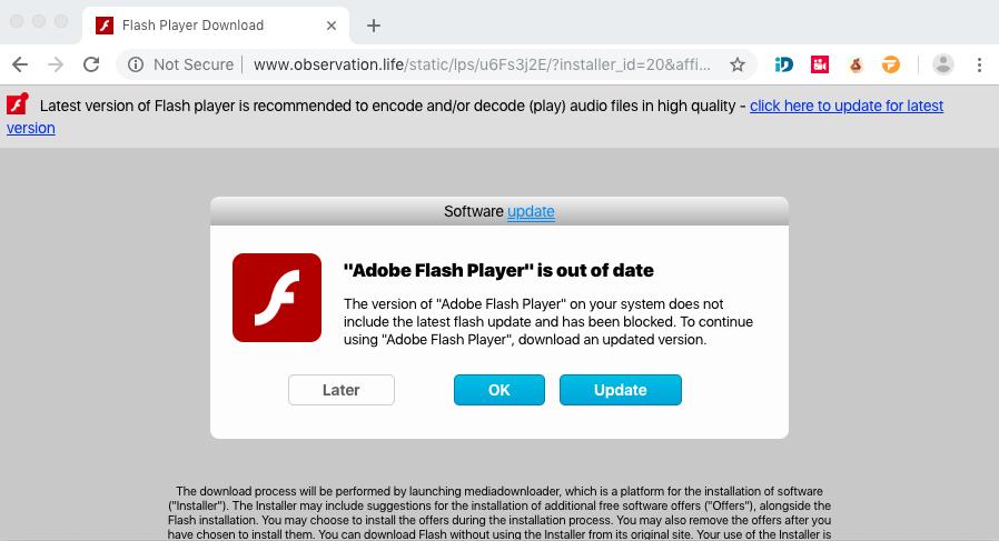 Observation.life fake Adobe Flash Player alert