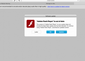 Craven.world fake Adobe Flash Player update alert