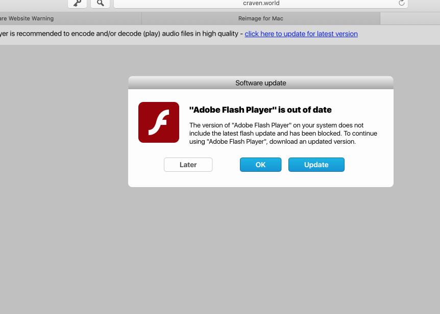 Craven.world fake Adobe Flash Player update alert