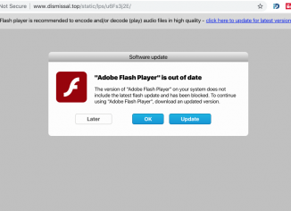 Dismissal.top fake Adobe Flash Player update alert
