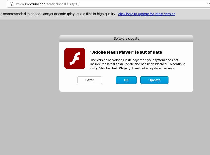 Impound.top fake Adobe Flash Player update alert
