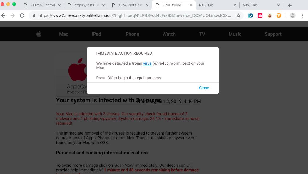 Newsasktypeliteflash.icu Virus Found scam