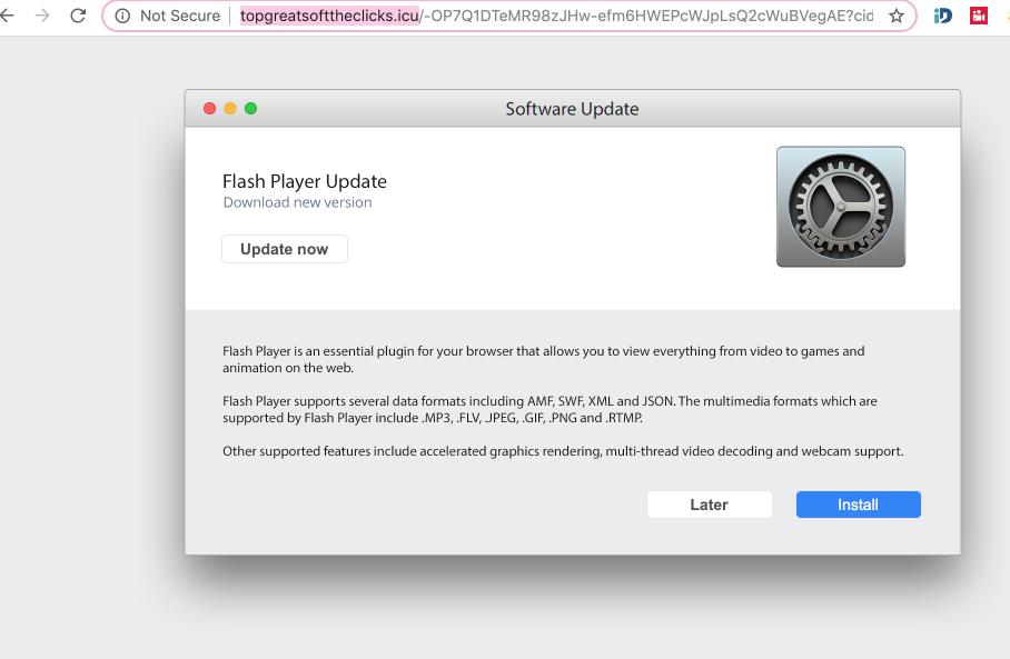 Topgreatsofttheclicks.icu fake Adobe Flash Player alert
