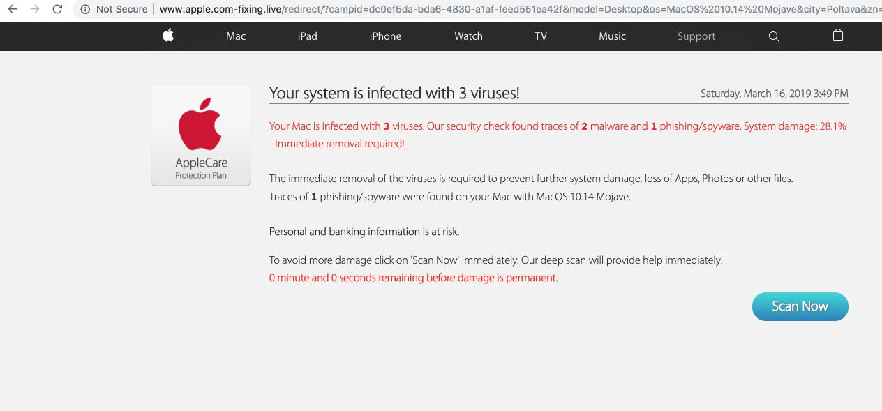 Apple.com-fixing.live scam on Mac OS X