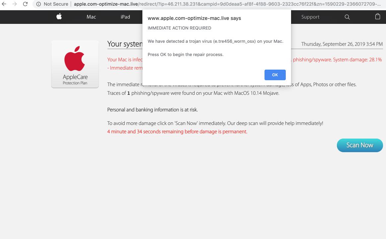 Apple.com-optimize-mac.live scam