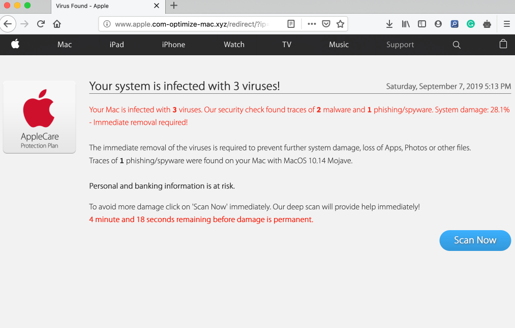 apple.com-optimize-mac.xyz scam