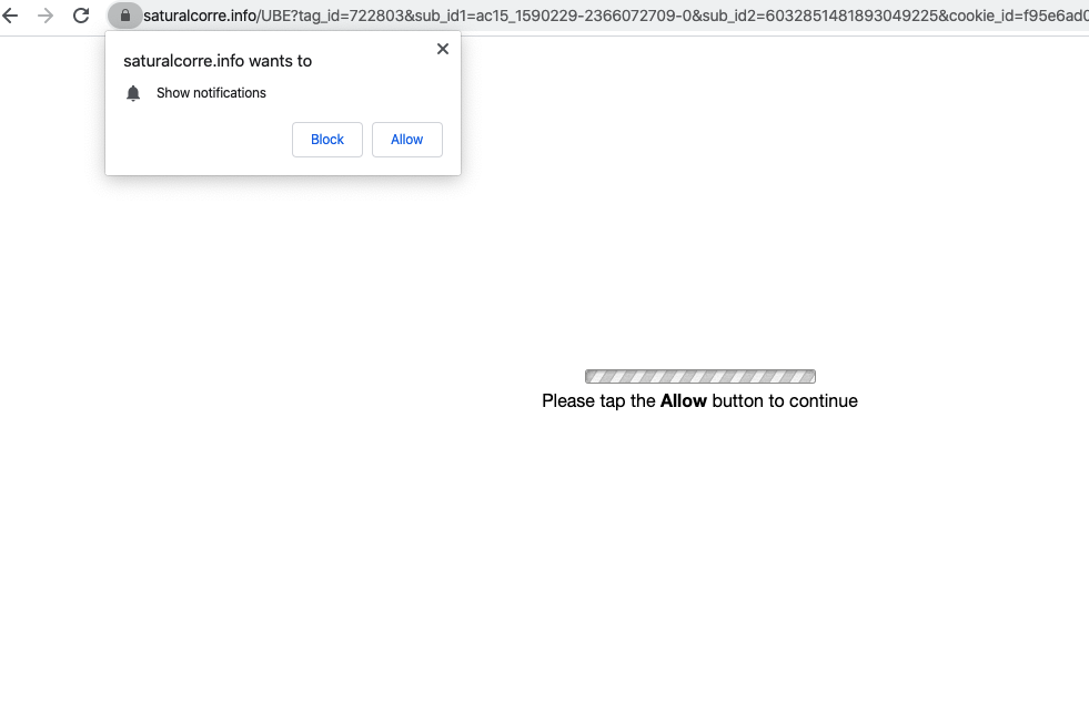 saturalcorre.info web push notifications