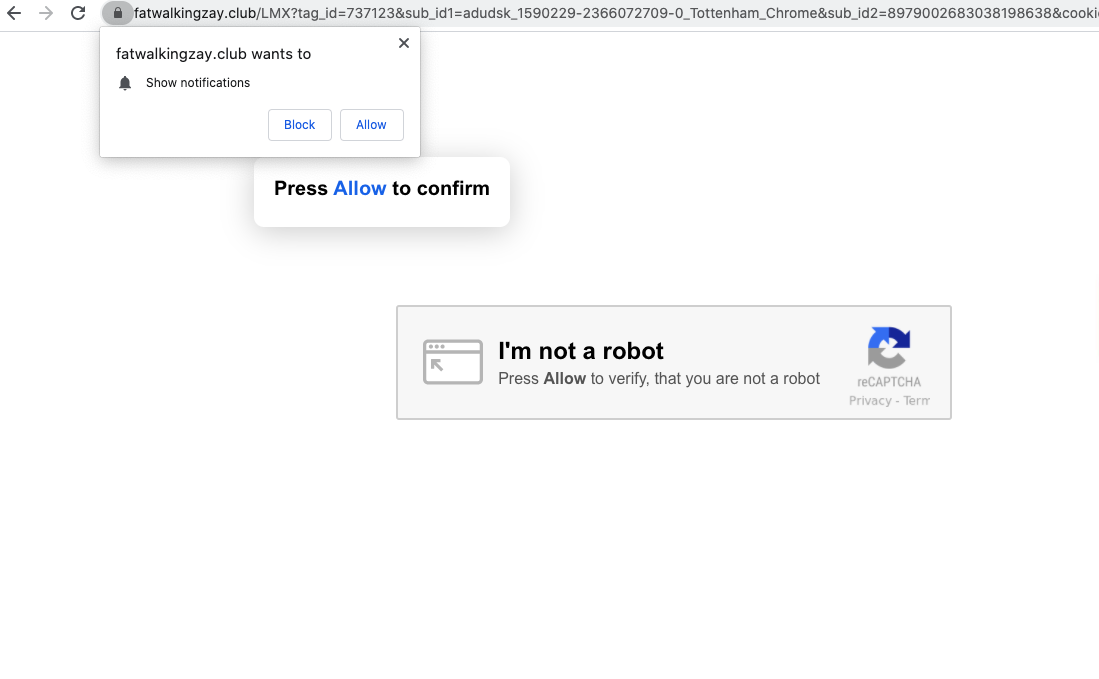 Fatwalkingzay.club fake robot check alert