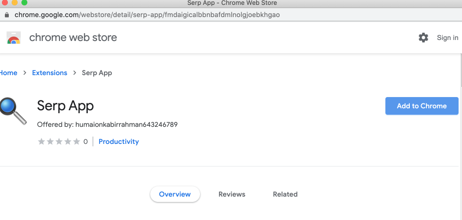 Serp App extension